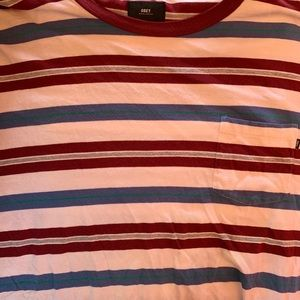 Obey Striped Pocket T Shirt